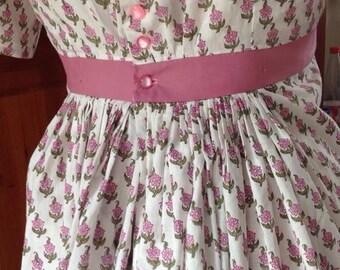 Regency dress, Jane Austen dress,  made to measure.  Regency dress block printed cotton pink floral on white, any size!