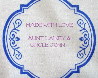Quilt Label - Botanical Blues #6, Custom Made and Hand Embroidered