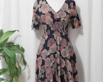 hand made vintage floral dress, small, calf length