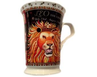 Dunoon Fine Bone China Astrology Coffee Mug, Ruth Beck, Leo The Lion, England, July 23rd - August 23rd