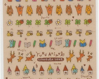 Yuru Animal Stickers - Schedule Stickers - Japanese Stickers - Mind Wave Stickers - Reference S5946