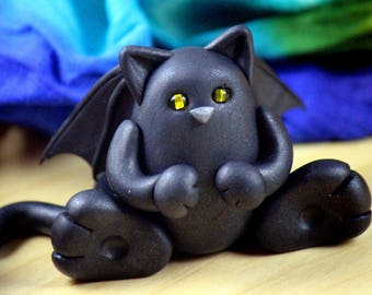 Black Winged Bag Cat Polymer Clay Figure Halloween
