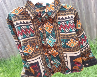 Father Son Matching - Toddler Boys Long Sleeve, Ethnic Indian Sari Silk Button Down Shirt - Southwestern on Black - Guillermo 3088