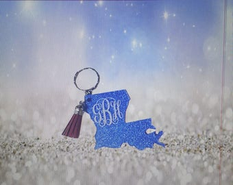 Customized La State Key Chains With/Without Tassels,Custom Key Chain With Glitter Back, Initials, Personalized Key Chains, Acrylic Key Chain