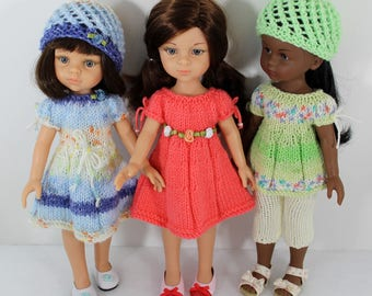 "Knitting pattern for top, dress and capri pants for Paola Reina doll (12""/32 cm) and Corolle Les Cheries doll (13""/33cm)."