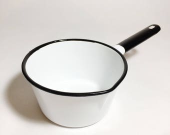 Black and White Polish Enamelware Pot