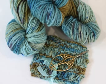 Gift Set, Bundle with Gothic Arch Scissors, Hand dyed yarn,  handspun 'Lagoon', Mothers Day, Birthday Gift
