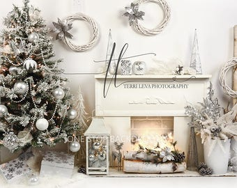 Silver & White Christmas Backdrop on Glare Free Vinyl 7' wide by 5' tall