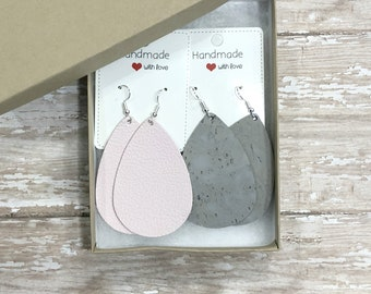 Mother's Day Teachers Gift Set Pink Almost Mauve Grey Gray Cork Leather Teardrop Drop Earrings
