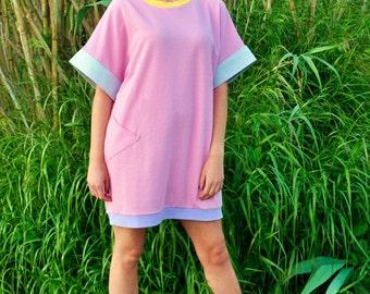 pink mesh oversized eighties tunic
