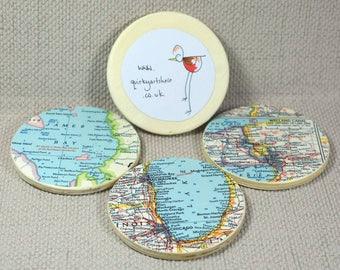 Personnalisé carte Coasters, des États-Unis et Asie Vintage cartes, cadeaux de Wanderlust, carte découpage, dessous de verre ensemble cadeau, cadeau fête des pères
