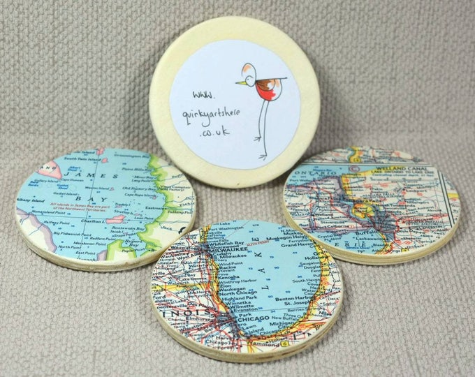 Featured listing image: Custom Map Coasters, Set of 6, you choose your favourite UK areas