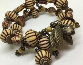 Bohemian/Vintage influenced two tiered bracelet.