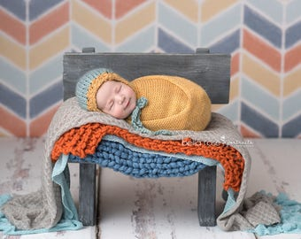 Hand Spun Knit Bonnet Photo Prop Newborn Knitted Hat Gold Baby Girl Shower Gift Boy Coming Home Outfit Teal Going Cap Infant Photography