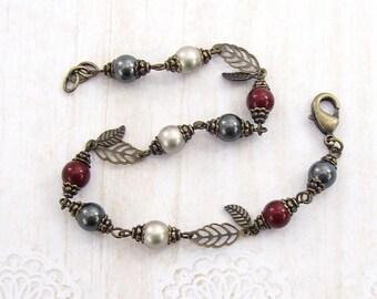 Leaf Charm Swarovski Pearl Bracelet - Red, Gray and Silver - Brass Filigree Leaf Woodland Jewelry - Boho Nature Inspired Bronze Jewelry