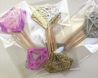 Gorgeous Glittery Diamond Bling Cupcake Toppers, Engagment Party, Bridal Shower, Bachlorette Party, Sparkly Gold Pink Silver