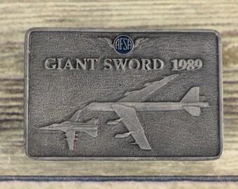 AFSA Giant Sword Belt Buckle 1989 Air Force Sergeants Association Airplane Plane
