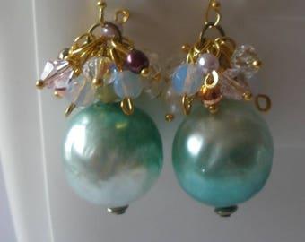 Vintage bead earrings, cluster earrings, Free UK Shipping
