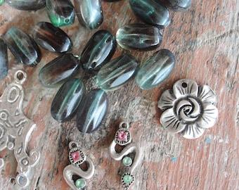 Potpourri Bead lot, Aurora Borealis destash lot, vintage and new beads, ethnic, earrings, Pendants, silver, blue, rainbow