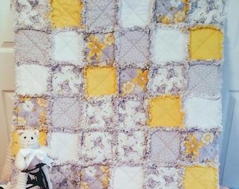 Yellow Elephant Babies ~ Rag Style Crib Quilt