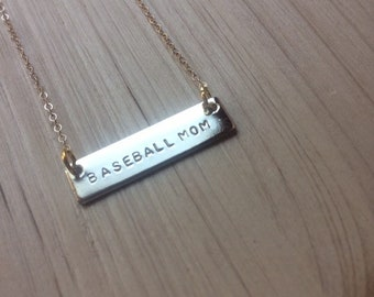 Personalized Bar Necklace | BASEBALL MOM Bar Necklace | #PRAYMOHR® Designs | Custom Name Bar | Hand Stamped | Personalization Available