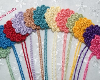 Flower Applique - Hand Crocheted 12 Tiny Floral Design - You Select Color - You Select Size - Scrapbook Embellishment - Doll Making Supply