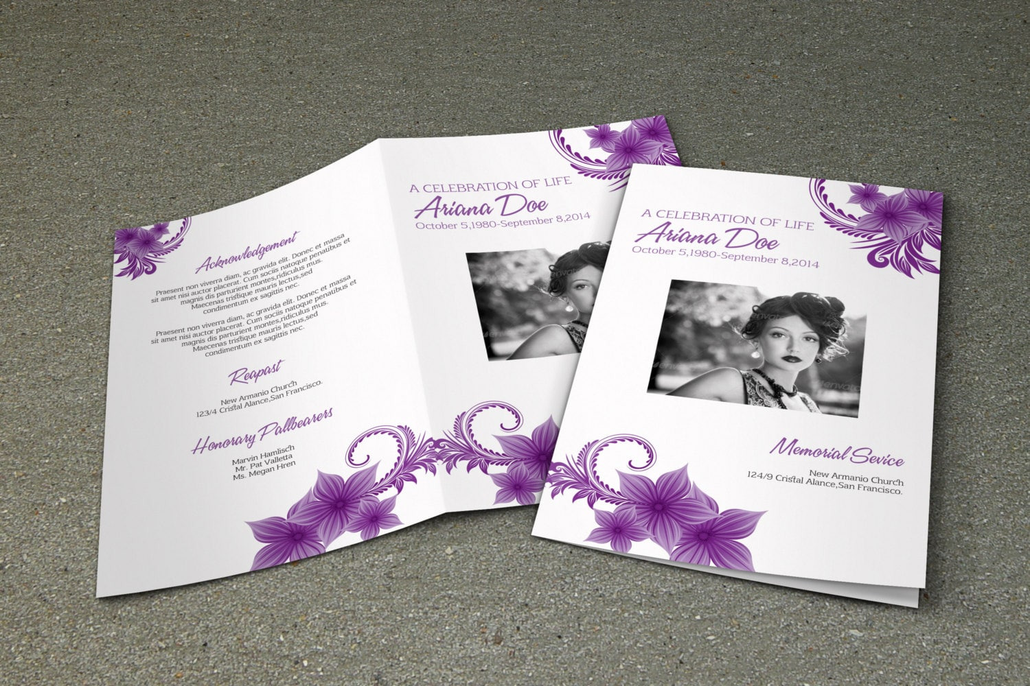 death resolution template - purple flower funeral program template printable memorial
