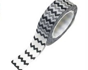 Masking tape 10 m black Chevron - Washi tape graphic black and white