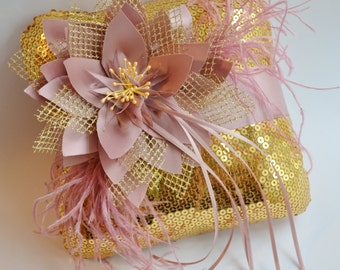 Gold Wedding Sequins And Dusty Pink Ring Bearer Pillow