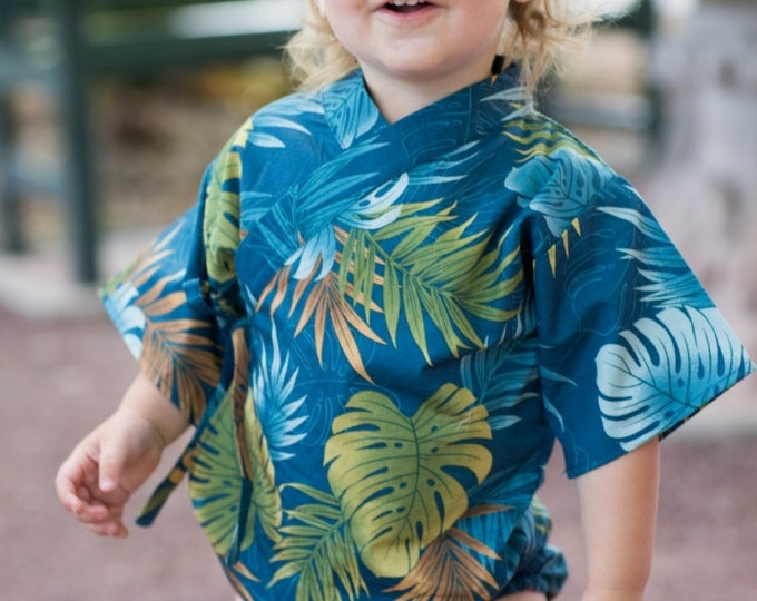 Baby Kimono Bodysuit - Tropical Teal - Baby summer outfit - cool baby clothes japanese jinbei