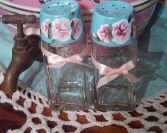 Aqua,hand painted,salt& pepper set,shabby cottage chic, HP pink roses, aqua, kitchen,retro,Victorian,Beach House,unique,last in this style