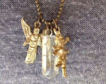 Clear Quartz Crystal Point with Brass Milagro