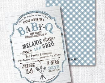 Baby-Q baby shower invitation, Printable, Boy BBQ Invite, Sip and See, Sprinkle, Blue Gingham, Western, Country Chic, Barbeque, Barbecue