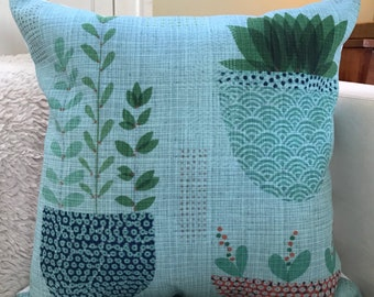 "18x18 decorative pillow ""Ferns and Succulents"""