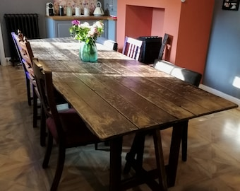 Large reclaimed trestle table