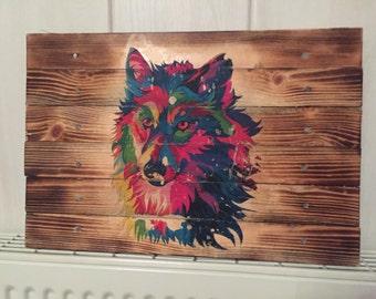 Colourful Wolf head burnt board wall art