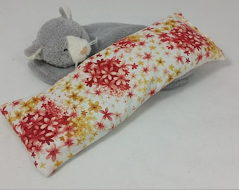 White, red, & yellow floral eye pillow, temple to temple coverage, organic flax seed filled, unscented