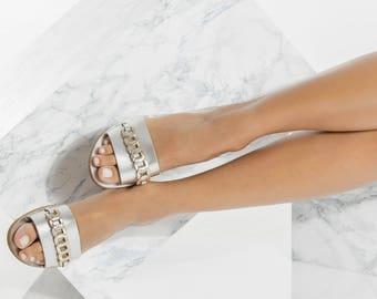 Leather Slides, Silver Slip On Sandals with gold details, Minimalist, Ekavi design NEW