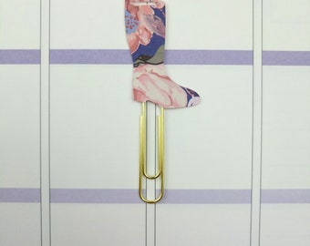 Navy and Pink Floral Rain Boot Planner Clip