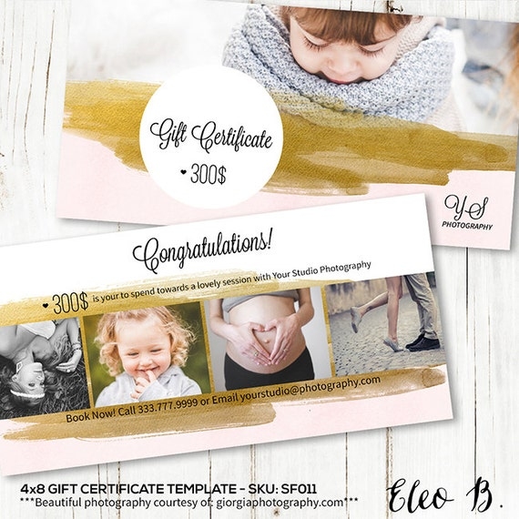 4x8 Gift Certificate Photography   Gift Certificate Template   Gift  Certificate Design   Photoshop Template   SF011   INSTANT DOWNLOAD