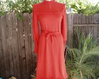 Vintage Mervyns Burnt Orange/Rust Sweater/Knit Dress