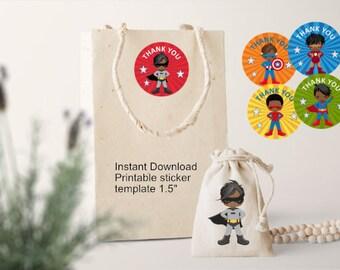 African American Boy Super - Hero Thank You Sticker Template/DIY Hero Stickers