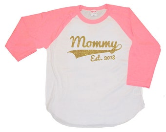 Mommy - ladies personalized year raglan baseball shirt - new mom gift, mothers day present