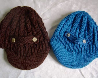 Baby newsboy cap, 3 months, knitted with acrylic blue or brown
