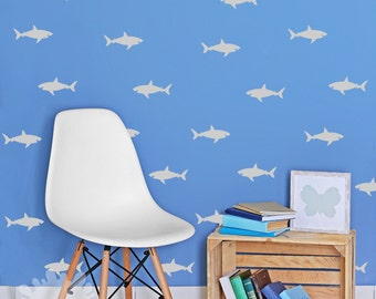 Awesome Shark Wall Decal / Sharks Pattern Wall Decal / Sharks Sticker / Interior  Decal