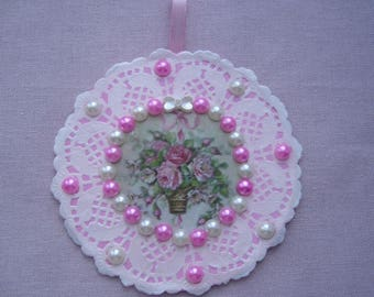 A round wall decoration pink and white elegance, romance and delicacy