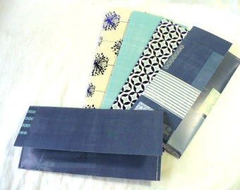 Cash Envelopes System Budgeting, Set of 5, 3 x 7 Inch, Hand Stitched, Front Flap Closure, Reusable and Durable