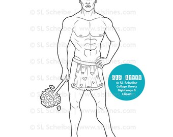 hot man in apron digital stamp, digistamp naked man with duster, adult coloring page by SLS Lines