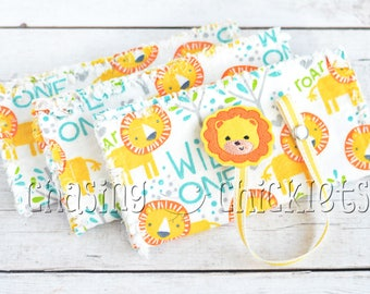 Baby Shower Gift Set // Wild One Lion Ragged Edge Burp Cloth // Little Lion Pacifier Clip // Baby Burp Cloth Pacifier Clip