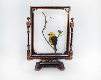 Hand Sculpted Yellowhead Bird & Twig Magnet by Carrie Jackson